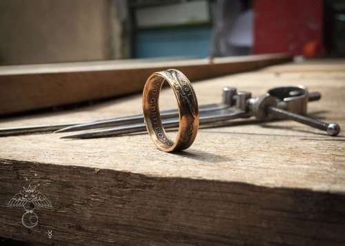 Handcrafted and upcycled 22ct gold coin wedding rings