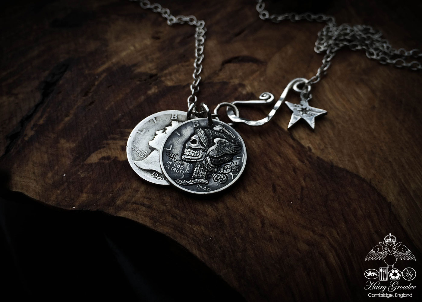 Hand-carved and recycled silver dime liberty coin skull necklace