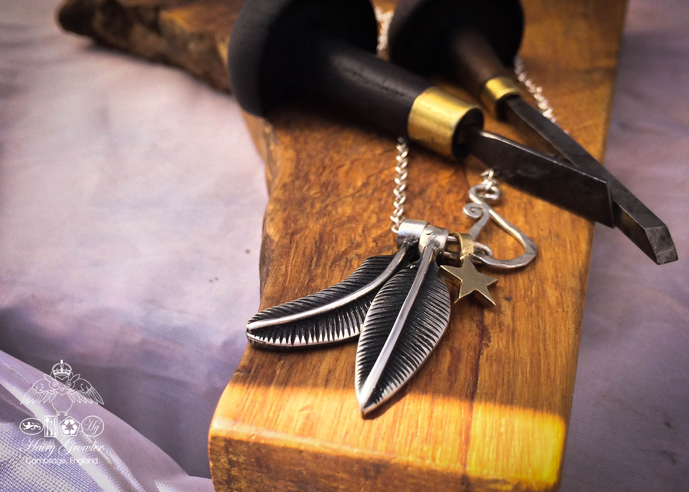 In much of my art and jewellery feathers seem to make an appearance whether planned or not; They work for me as a way to focus my attention on detail. I love finding them around and about, outside my cave. It has been noted by some that call themselves fr