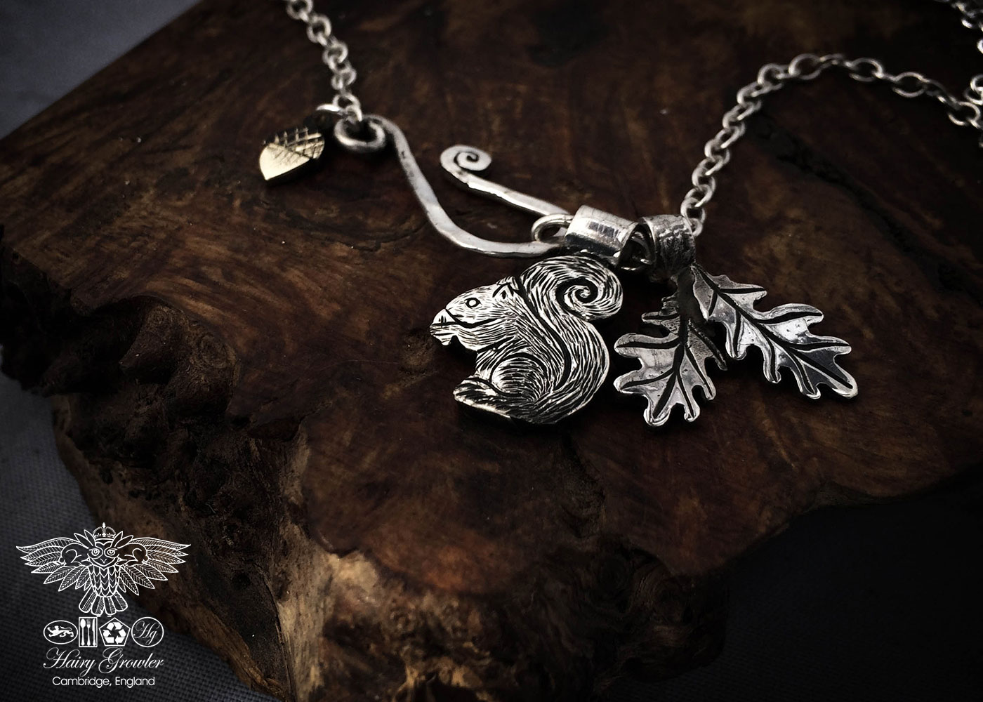 Squirrel jewellery handmade and recycled silver coins squirrel charm for a tree sculpture, necklace or bracelet