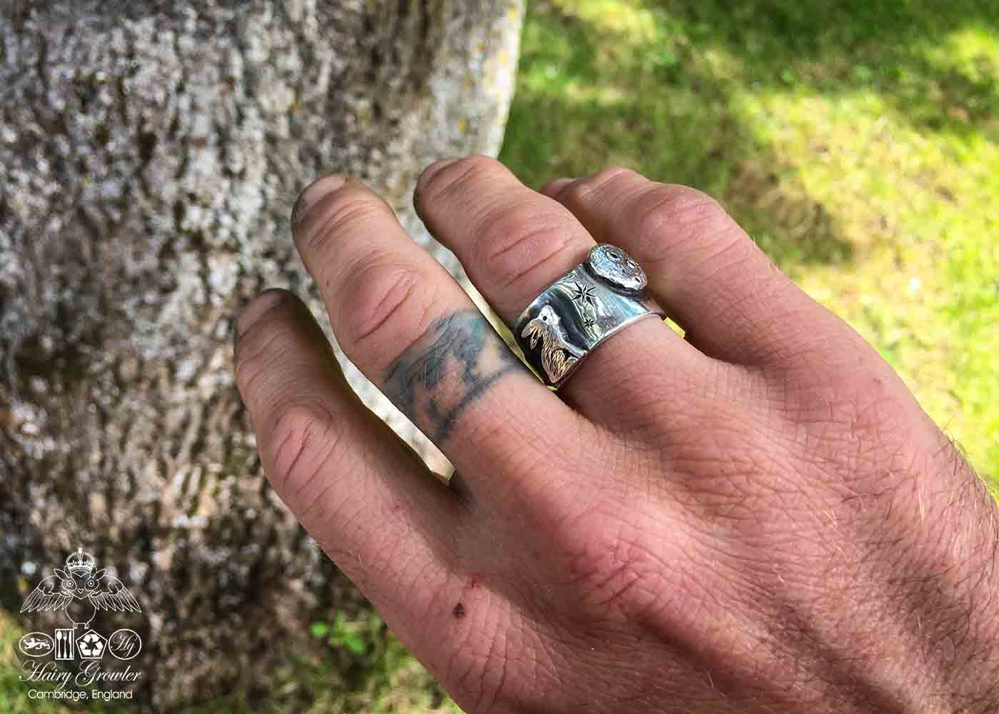 Beautiful nature inspired silver recycled jewellery moon gazing hare ring made from silver coins