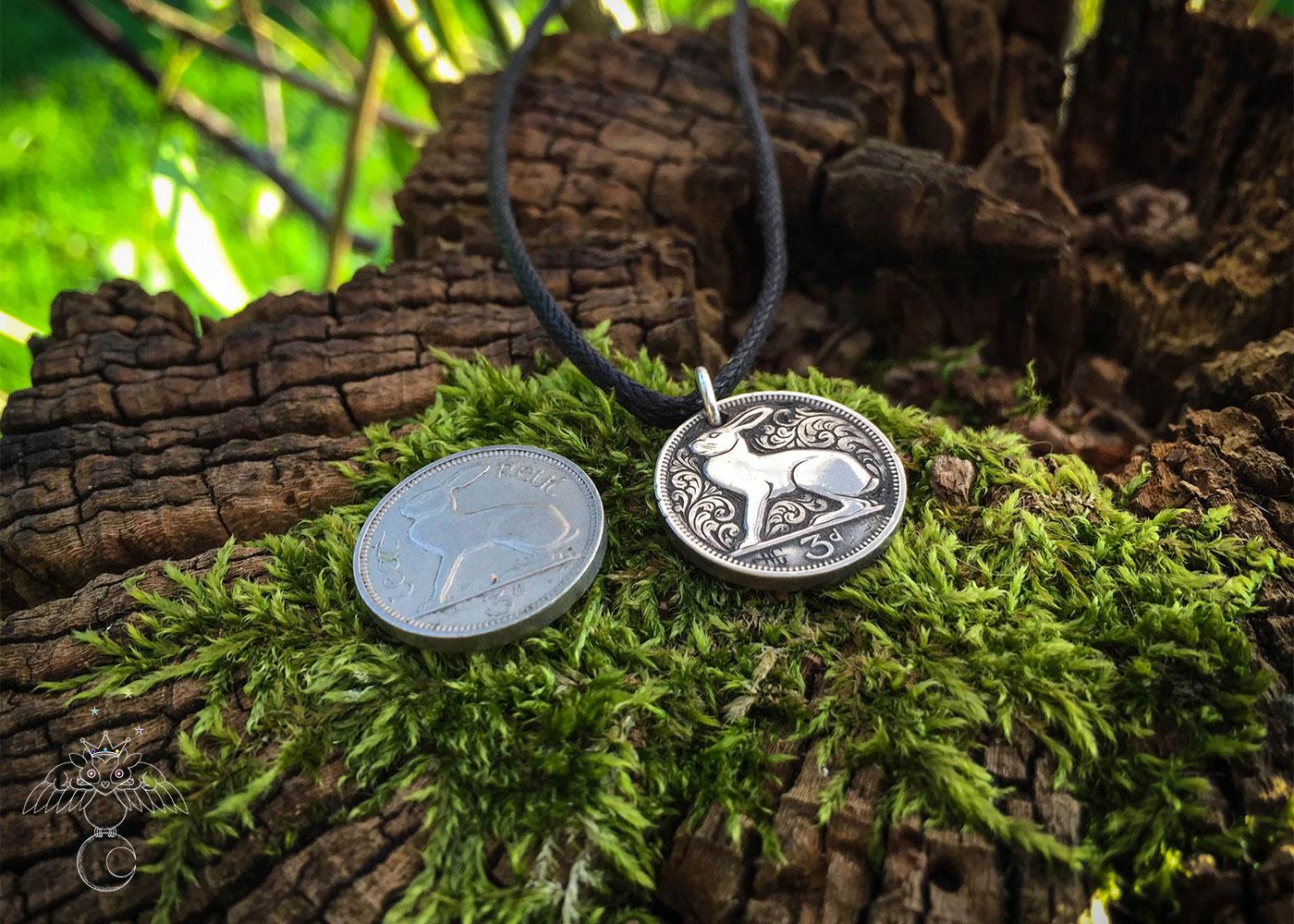 hand carved flourish Irish hare threepence coin pendant