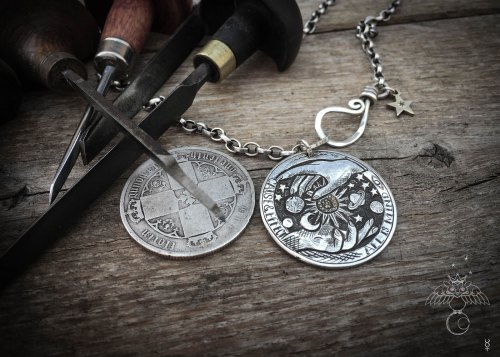Hermetic principles jewelry handmade and upcycled silver coin all is mind necklace pendant