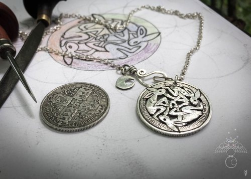handmade and upcycled silver coin hare necklace