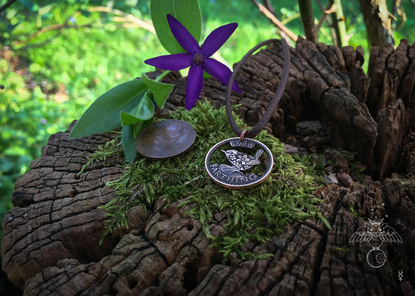 Hand cut, carved and engraved Jenny Wren Farthing coin pendant necklace made in the Hg workshop