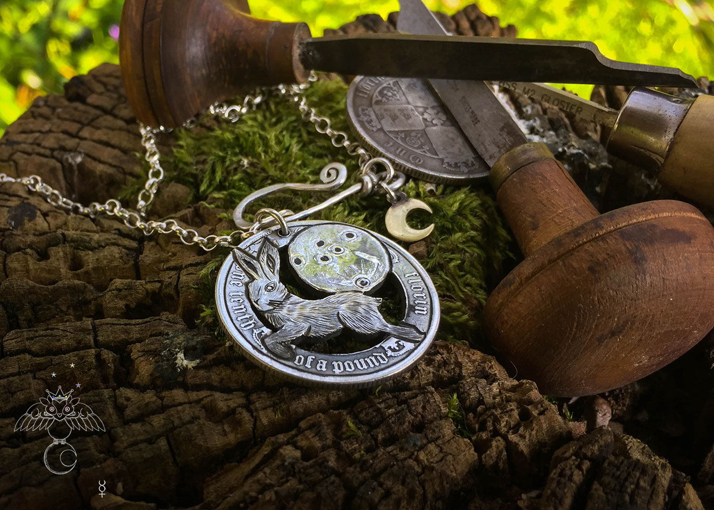 handmade and upcycled silver coin leap hare moon magic necklace pendant