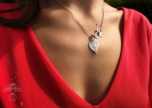 Birch leaf necklace handcrafted and recycled silver florin coin silver-birch leaf leaves necklace