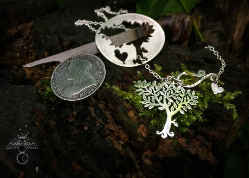 Ogham tree necklace Handcrafted and recycled silver coin Elder tree necklace