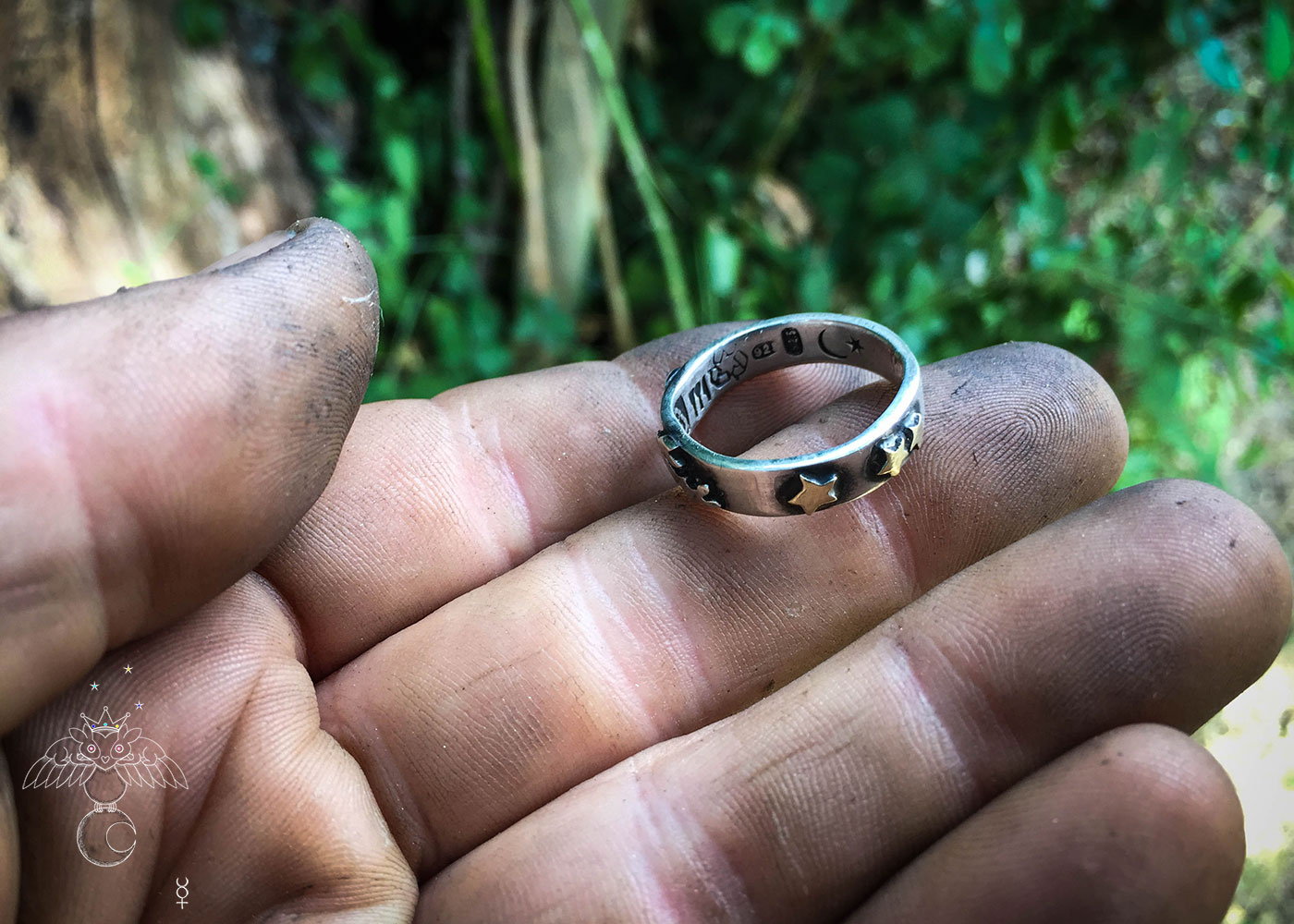 handmade and repurposed silver sixpence and fork magical leaping hare ring