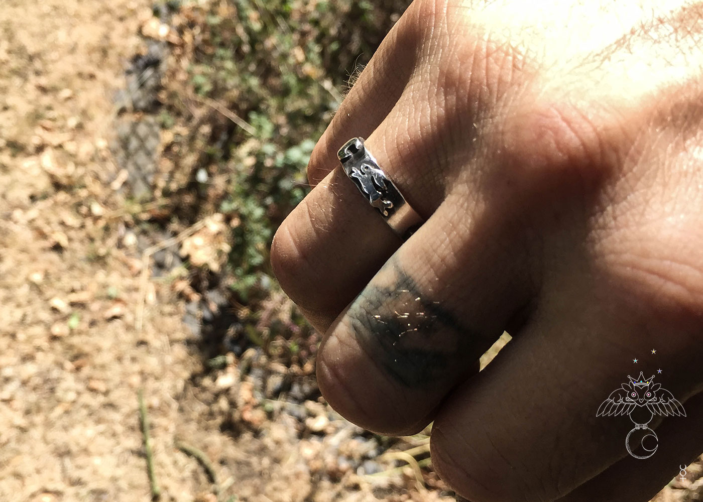 handcrafted and recycled silver sixpence and fork magical leaping hare ring