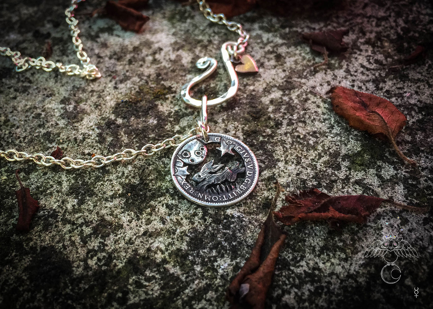 Leaping hare coin jewellery. Magical leaping hare silver necklace handcrafted and eco-conscious.