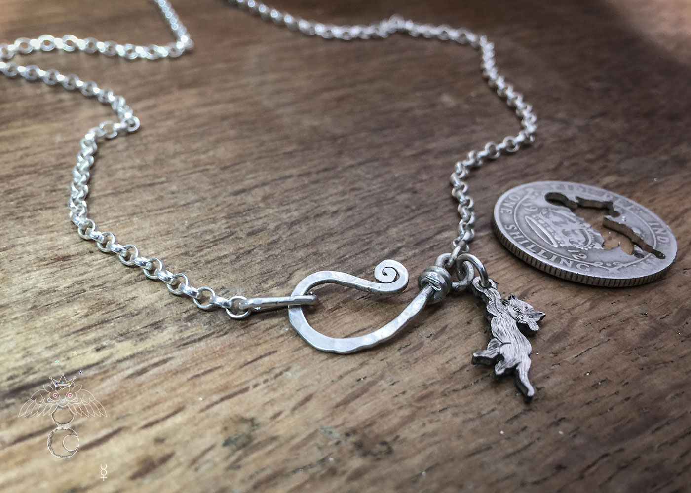 Silver kitten necklace silver chain