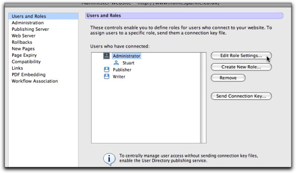 Contribute Users and Roles Dialog Box