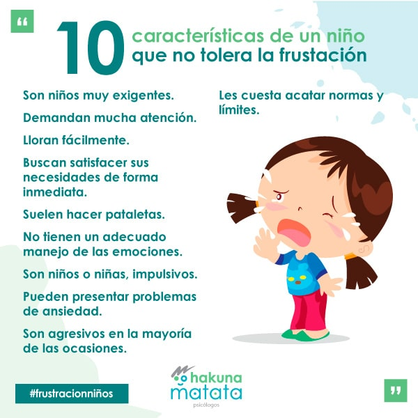 Características de un niño que no tolera la frustración