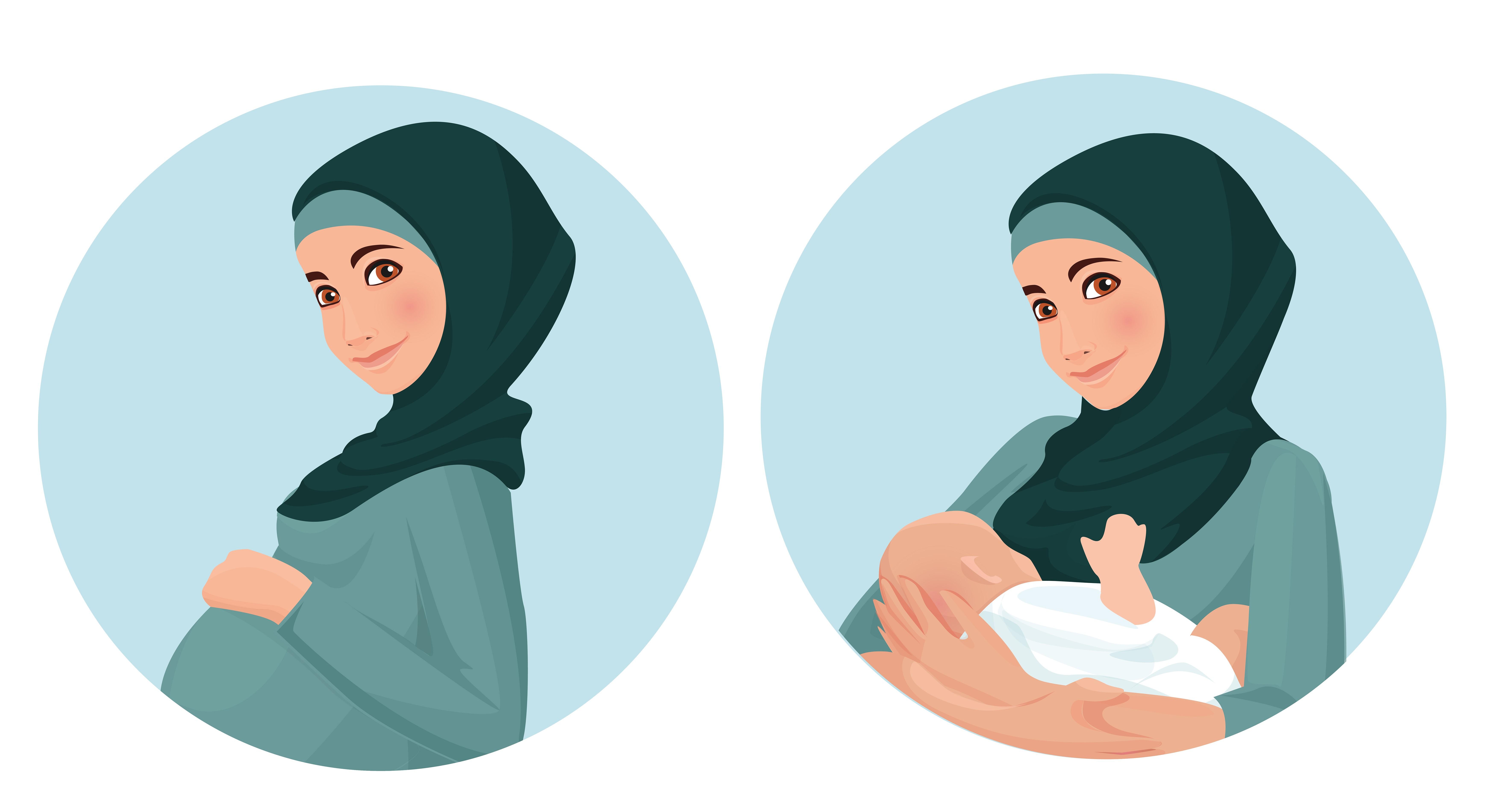 Pregnant Nursing Muslim Woman