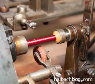 halbachblog: Garnspule in historischer Spulmaschine