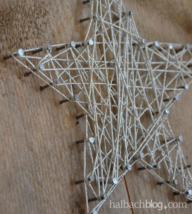 DIY-Idee halbachblog: Detail von Stern aus Silberkordel und Nägeln auf Holzbrett