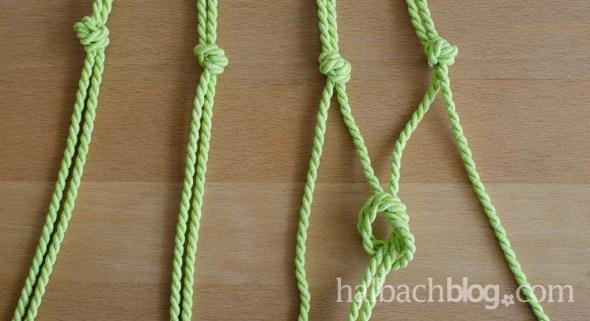 DIY-Idee halbachblog: Step-by-Step-Tutorial für Hängeampeln, mehrere Knoten auf einer Höhe