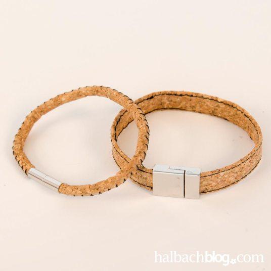 DIY-Idee halbachblog: Korkstoff Armband nähen in zwei Varianten