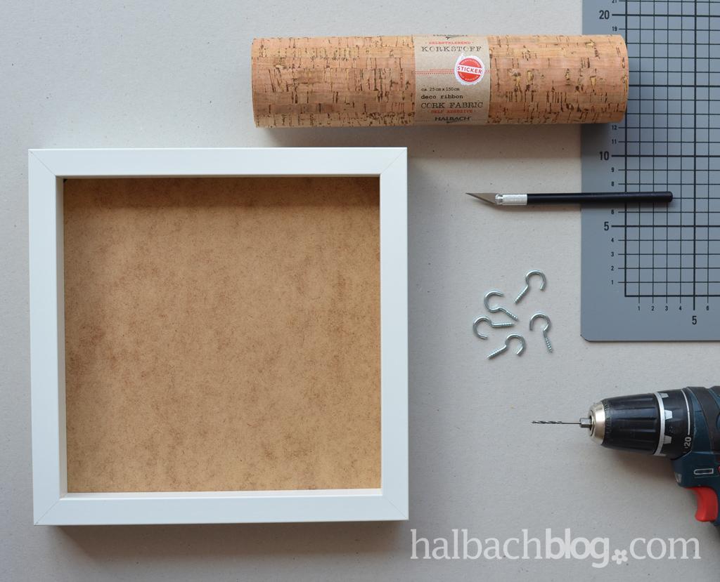DIY-Anleitung halbachblog: Schlüsselbrett aus strukturiertem, selbstklebendem Korkstoff mit Haken und Ablage