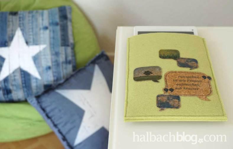 DIY-Idee halbachblog: Tablet-Huelle aus Filz und bedrucktem Korkstoff im Fototransfer-Verfahren