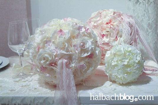 halbachblog: von Herzen I Ideen-Sammlung I Muttertag und Weiße Feste I dekorative Blütenkugeln mit Perlen und Spitze