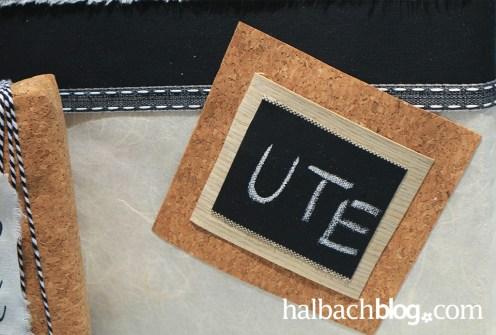 DIY-Idee halbachblog: Geschenke liebevoll verpackt I selbst gestaltete Etiketten aus Korstoff, Holzfurnier-Stoff und Tafelstoff I