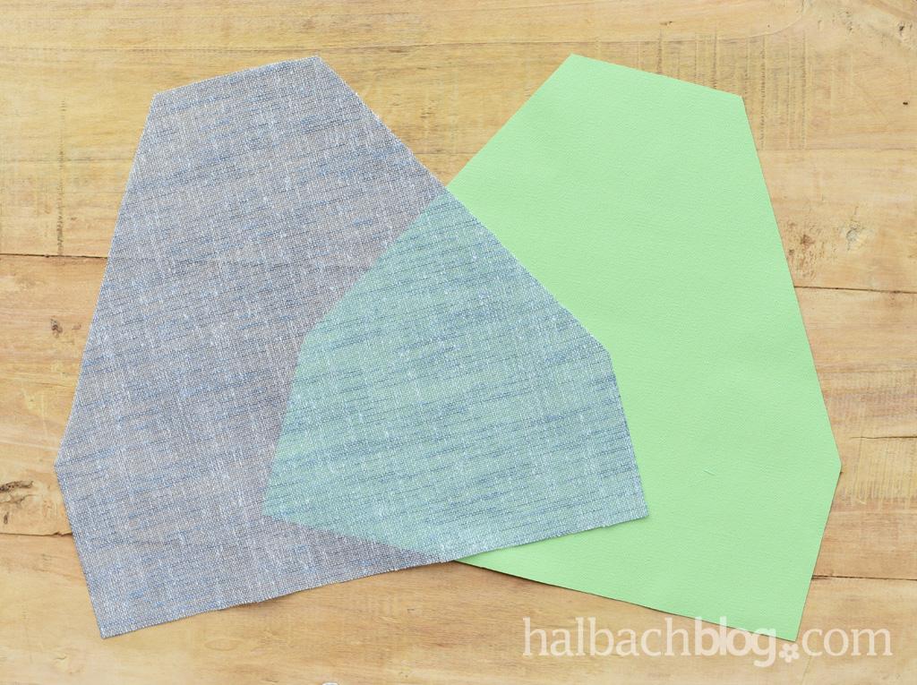 DIY-Anleitung Halbachblog: Bestecktasche nähen aus Tafelstoff, Innenfutter und Bändern in Grün-Blau; Stoffzuschnitte