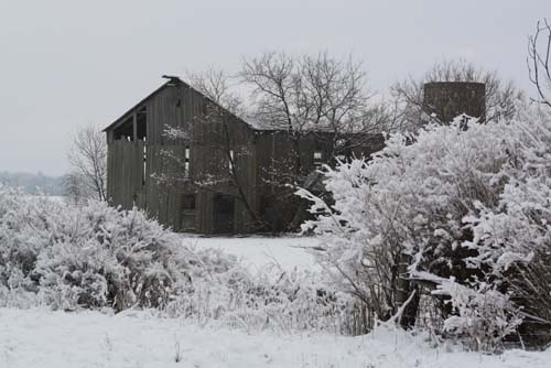 An old barn stands against the elements