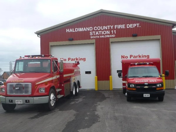 South Haldimand Fire Station #11 with a fire truck and Emergency Response Vehicle sitting in front