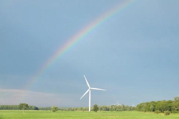 A rainbow over a windmill in Haldimand County