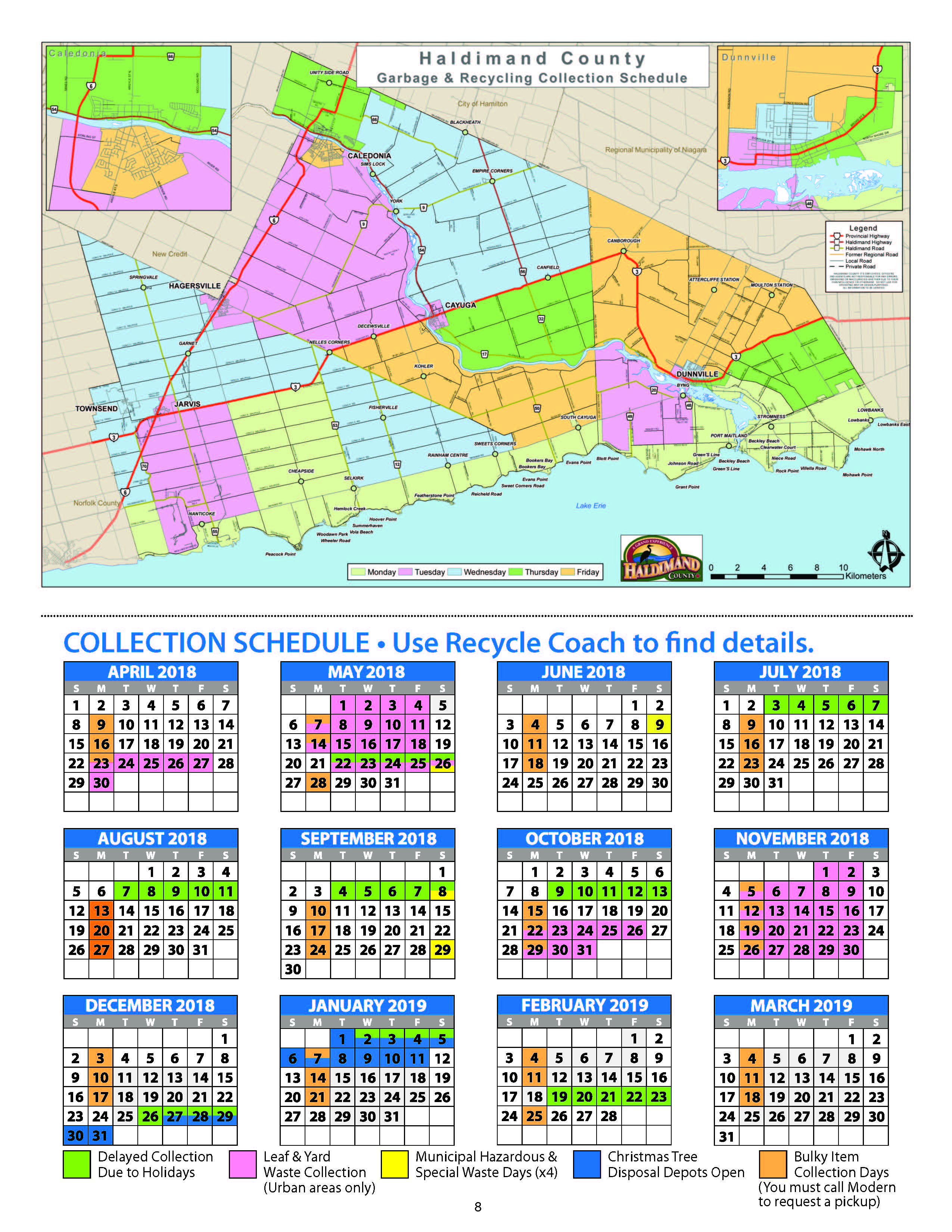 Garbage and recycling collection schedule