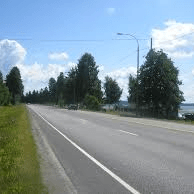roadway with lake on right