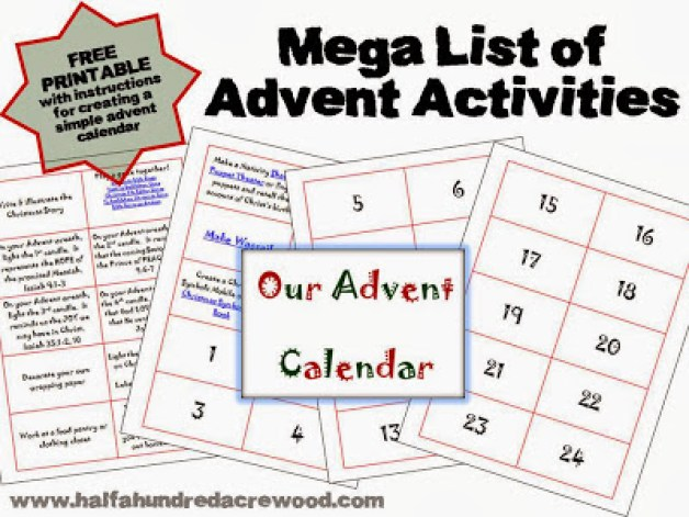 A Family Activity Christmas Countdown Calendar  Half a Hundred