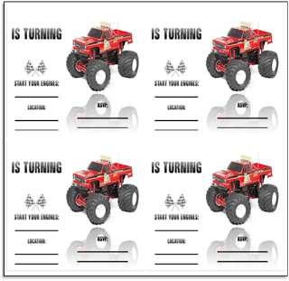 monster truck party free printables