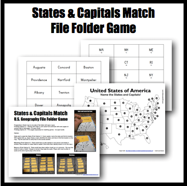 U.S. Geography States & Capitals File Folder Game - Half a Hundred ...