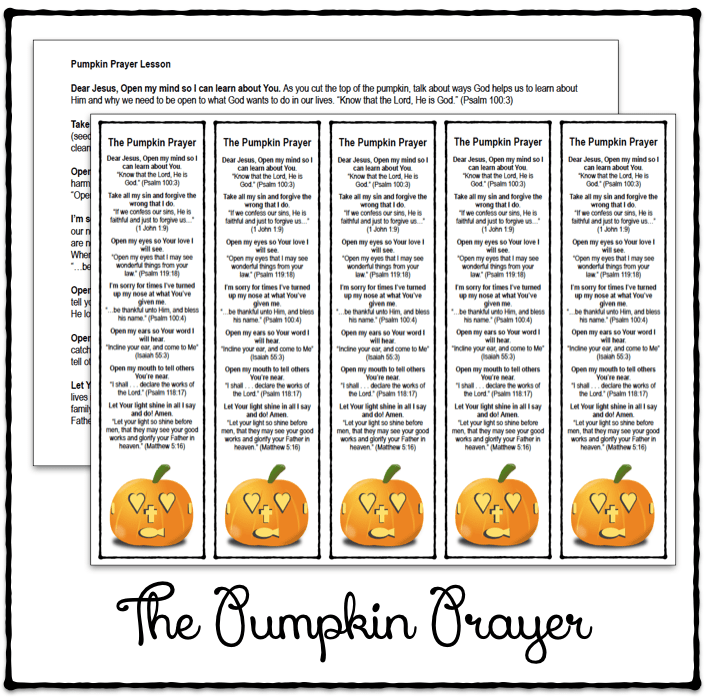 The Pumpkin Prayer Bookmarks and Lesson {Printable}