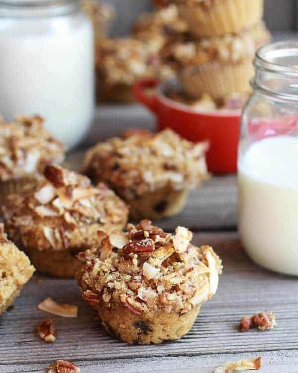 Sweet Potato, Quinoa and Dark Chocolate Coconut Crumble Crunch Muffins | halfbakedharvest.com