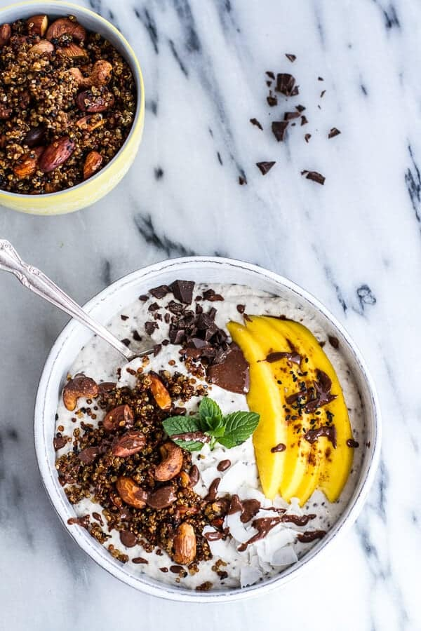 healthy smoothie recipes, Coconut Banana Oats Smoothie Bowl with Crunchy Black Sesame Quinoa Cereal + Mango | halfbakedharvest.com