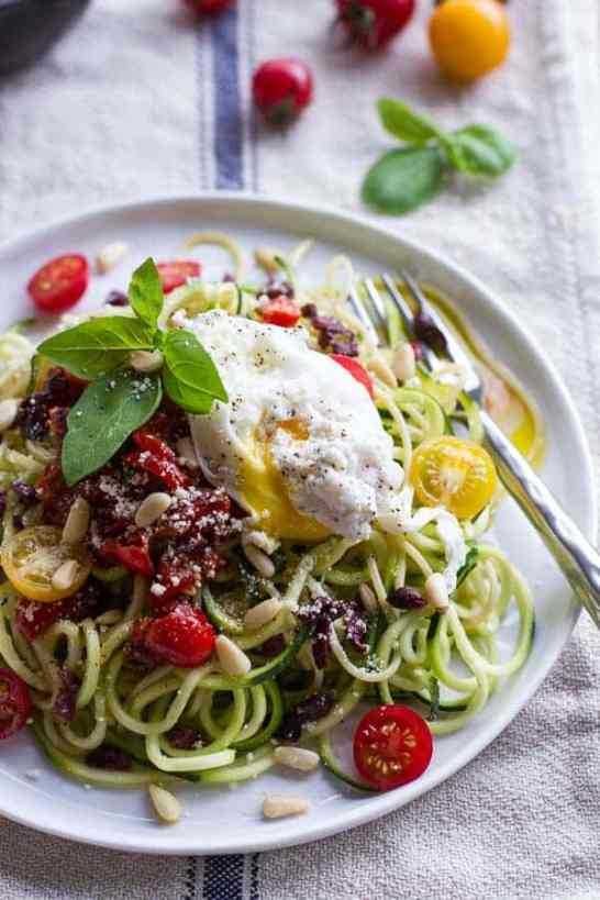 Zucchini Pasta with Poached Eggs