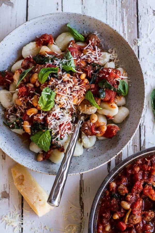 Crockpot Tuscan Sausage And White Bean Ragu With Ered Gnocchi Halfbakedharvest Com Hbharvest
