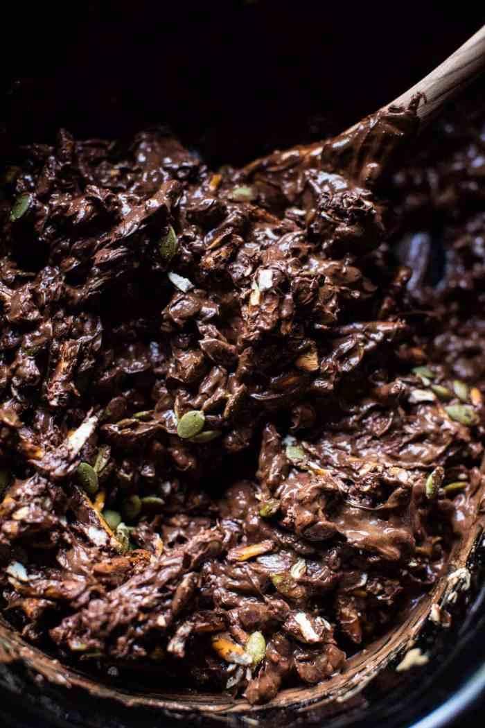 Addicting 5 Ingredient Crockpot Chocolate Bars | halfbakedharvest.com #dessert #halloween #chocolate #candybar