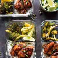 Meal Prep Tropical Jerk Chicken and Gingered Broccoli.