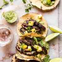 Asada Mushroom Tacos with Lime Smashed Avocado.