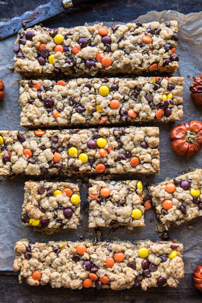 overhead photo Monster Oatmeal Chocolate Chip Cookie Bars with mini pumpkins in photo