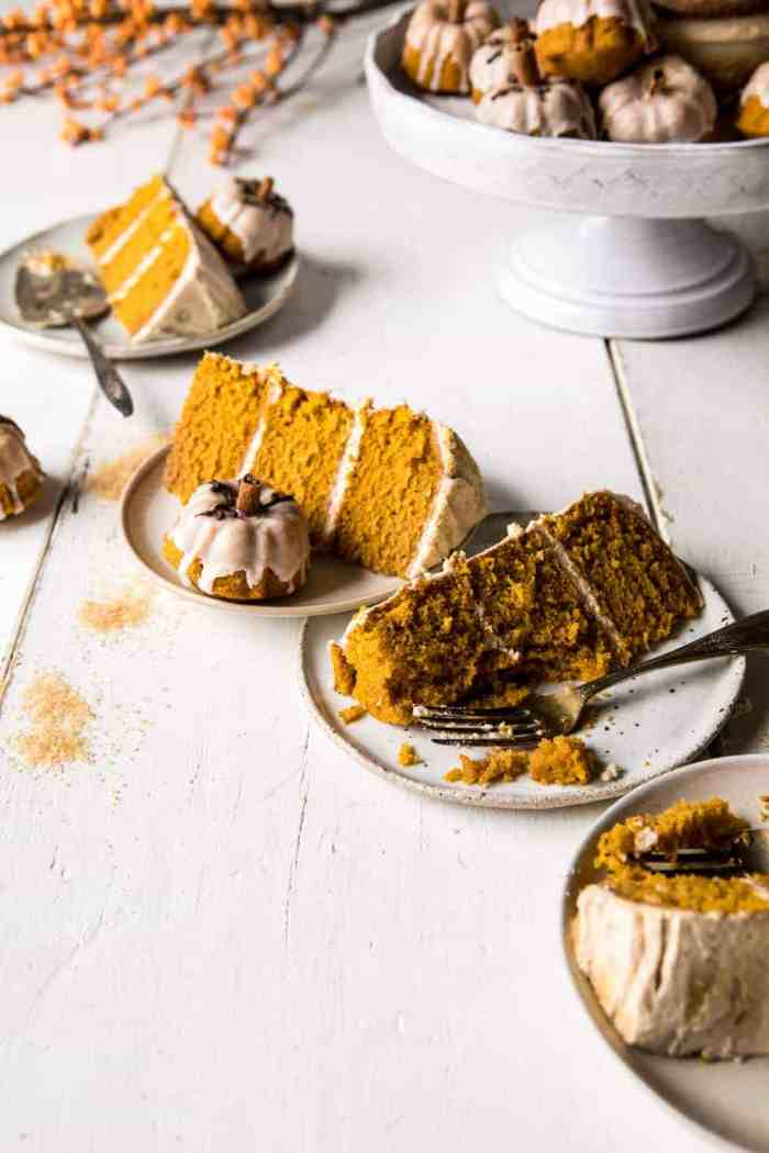 side angle photo of Chai Pumpkin Cake slices with cake stand in photo