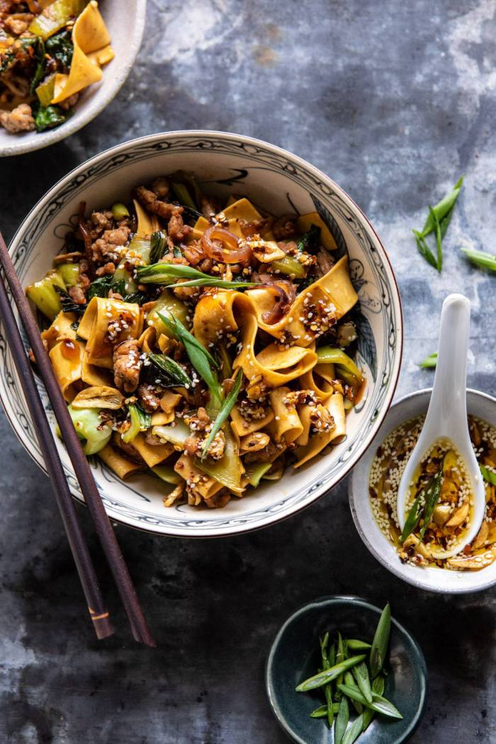 overhead close up photo of Better Than Takeout Szechuan Noodles with Sesame Chili Oil