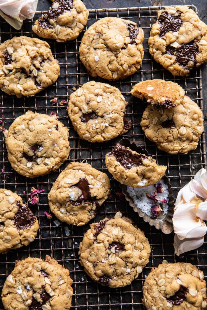 overhead photo of Peanut Butter Chocolate Chunk Oatmeal Cookies