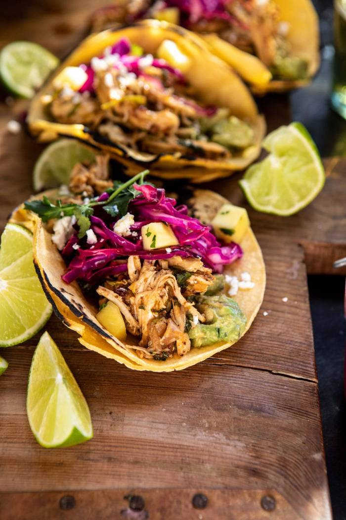 side angle photo of Slow Cooker Chipotle Orange Street Tacos