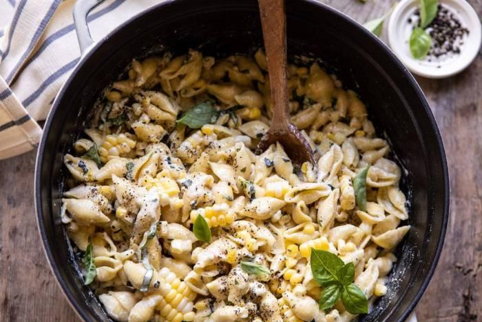 horizontal photo of One Pot Lemon Basil, Corn, and Ricotta Pasta